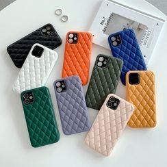 CeLLEAGUE - Faux Leather Rhombus Pattern Phone Case - iPhone 12Pro Max, 12/12Pro, 12mini, 11, 11 Pro, 11 Pro Max, XS Max, X/XS, XR, 8p/7p, 8/7