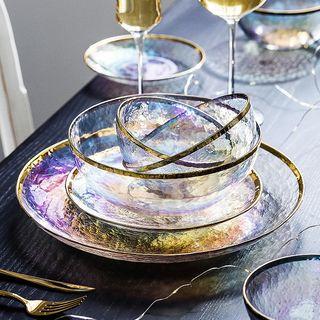 Modern Wife - Golden Trim Glass Bowl / Plate (various designs)