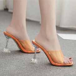 Niuna - PVC Strap High Heel Slide Sandals