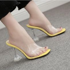 Niuna - Square Toe PVC Strap High Heel Slide Sandals