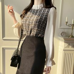 MyFiona - Frill-Neck Tweed-Panel Blouse