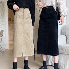 Rorah - Corduroy Midi Fitted Skirt