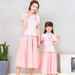 Drunk Trunk - Family Matching Set: Flower Print Short-Sleeve Hanfu Top + Midi A-Line Skirt