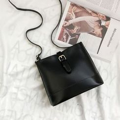 SUMME - Faux Leather Buckled Bucket Bag