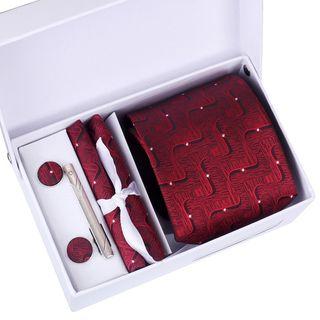 Seaton - Set: Neck Tie + Pocket Square + Cufflinks + Tie Bar