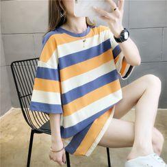 AQUI - Color-Block Stripe Oversize Tee