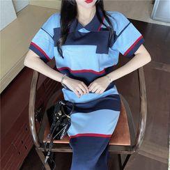 Newkoou - Short-Sleeve Striped T-Shirt / High-Waist Slim Fit Striped Knitted Skirt