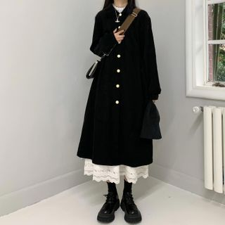 monroll - Long-Sleeve Midi A-Line Shirtdress / Lace Trim Midi A-Line Skirt