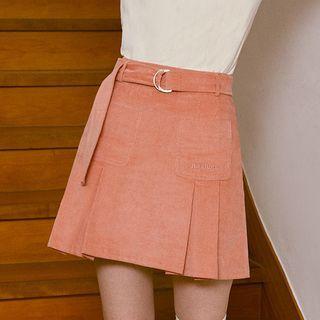 rolarola - Pleated Corduroy Miniskirt with Belt