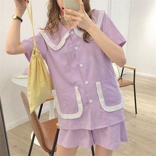 Essere - Short-Sleeve Buttoned A-Line Pajama Dress