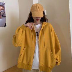 Magimomo - 前口袋纯色连帽拉链卫衣