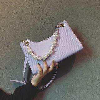 Mercillia - Faux Pearl Zip Handbag