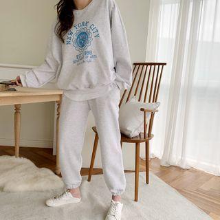 NANING9 - 'NEW YORK' Letter Sweatshirt & Sweatpants Set