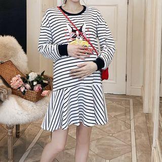 Empressa - 孕妇长袖条纹迷你连衣裙