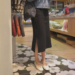 CHERRYKOKO - Ribbed H-Line Long Skirt