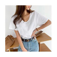 NANING9 - U-Neck Short-Sleeve T-Shirt