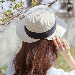 JUSTONE - Contrast-Trim Raffia Hat
