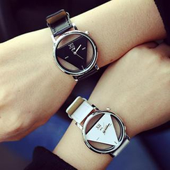 InShop Watches - Triangle Faux-Leather Strap Couple Watch
