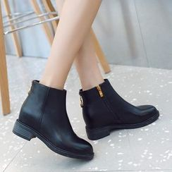 Pretty in Boots(プリティインブーツ) - Genuine Leather Hidden-Wedge Ankle Boots