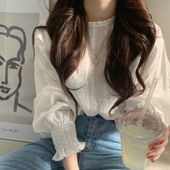 Muzly - Embroidered Eyelet Lace Blouse