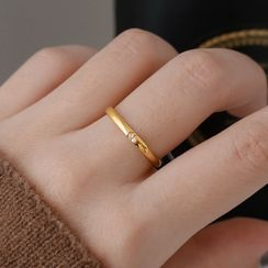 MOMENT OF LOVE - Square Stainless Steel Rhinestone Ring