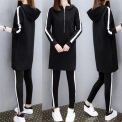 CRIBI - 套装: 条纹连帽长款纯色长袖T裇连衣裙 + 内搭裤