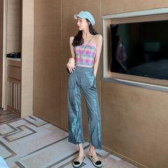 Maine - Set: Plaid Tube Top + Glitter Gaucho Pants