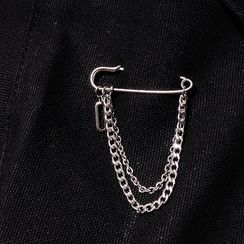 PANGU - Stainless Steel Safety Pin & Chain Brooch