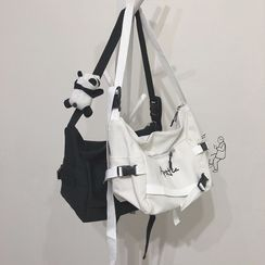 Katleon - Letter Embroidered Canvas Zip Crossbody Bag