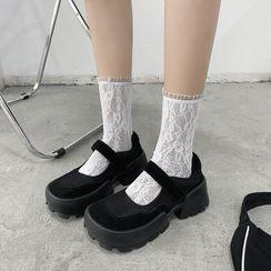miss baby(ミスベイビー) - Platform Adhesive Tab Mary Jane Flats