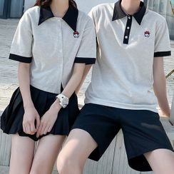 Tabula Rasa(タブララサ) - Couple Matching Two-Tone Short-Sleeve T-Shirt / Polo Shirt / Skirt