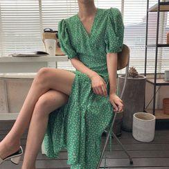 Cherryville - Puff-Sleeve Floral Print Wrap Dress