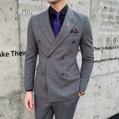 Sheck(シェック) - Set: Double-Breasted Blazer + Dress Vest + Dress Pants