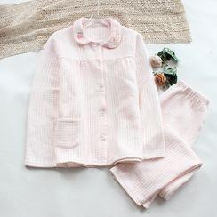 Dogini - Pajama Set: Long-Sleeve Gingham Shirt + Pants