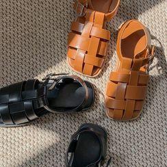 MERONGSHOP - T-Strap Woven Sandals