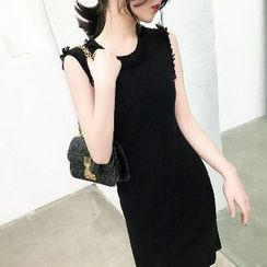 GILLY - 無袖針織流蘇連衣裙