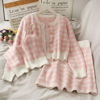 Lemongrass - 格紋單排扣寬鬆毛衣 + 短款吊帶 + 半身裙三件套