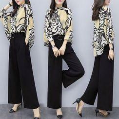 Jeonseon - 套装: 七分袖印花衬衫 + 宽腿裤