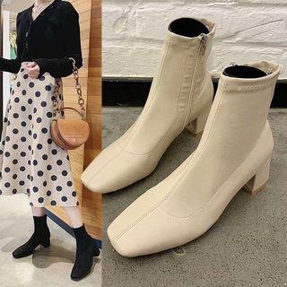 Wello - Side Zip Block Heel Short Boots