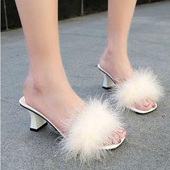 Anjay - Furry Block Heel Slide Sandals