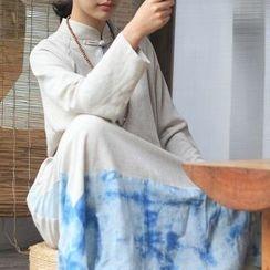 Fabric Sense - Long-Sleeve A-line Maxi Dress