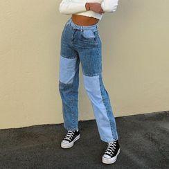 BrickBlack - 直身插色牛仔褲