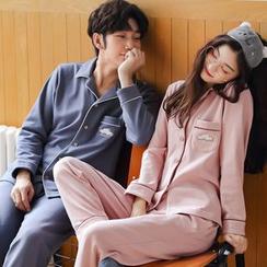Jeony - Couple Matching Print Pajama Set