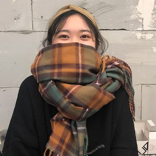 CIMAO - 格子流蘇圍巾