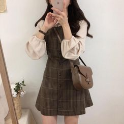 Brigitte - Long-Sleeve Pintuck Blouse / Plaid A-Line Mini Pinafore Dress