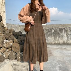 The Cat's Den - 純色襯衫 / 格紋打褶背帶連衣中裙
