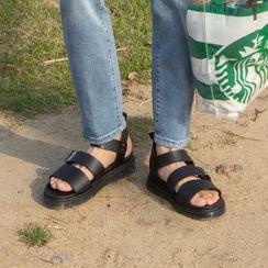Seoul Homme - Buckled Pleather Velcro Platform Sandals