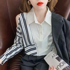 Petit Lace - Long-Sleeve Cold Shoulder Striped Panel Shirt