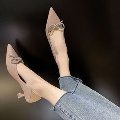 Anjay - Sequined Bow Stiletto Heel Pumps