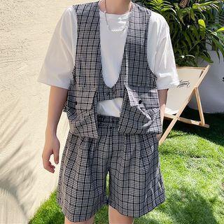 Citigleam - Set: Plaid Vest + Shorts